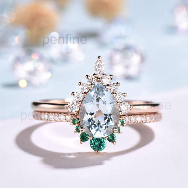 Unique Art Deco Aquamarine Vintage Style Bridal Set Pear Shaped - PENFINE