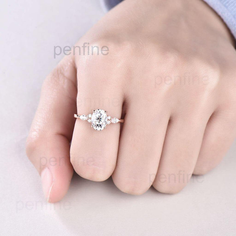 moissanite ring in hand