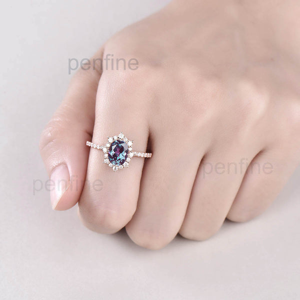 Vintage Fancy Alexandrite Halo Moissanite Engagement Ring Rose Gold - PENFINE