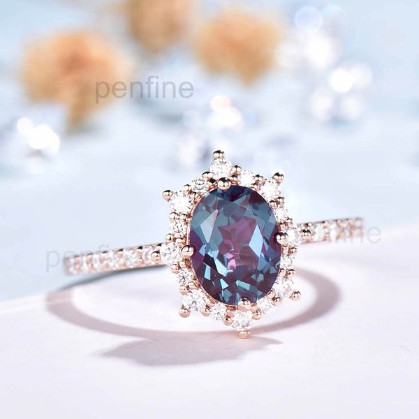 Vintage Fancy Alexandrite Halo Moissanite Engagement Ring Rose Gold