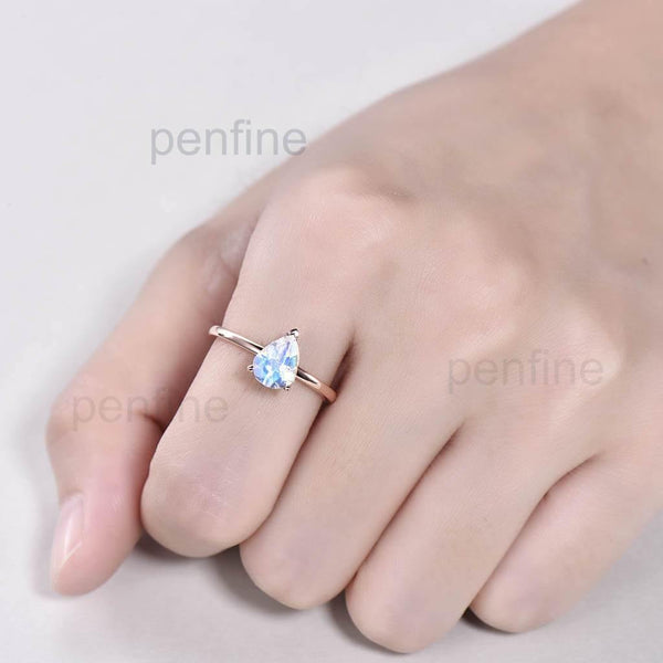 Solitaire Rainbow Pear Shaped Moonstone Engagement Ring Elle Rose Gold - PENFINE