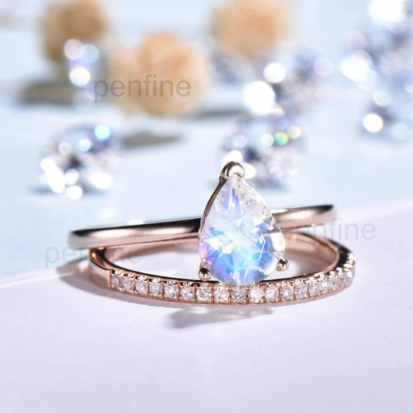 Solitaire Rainbow Blue Pear Moonstone Engagement Ring Wedding Set - PENFINE