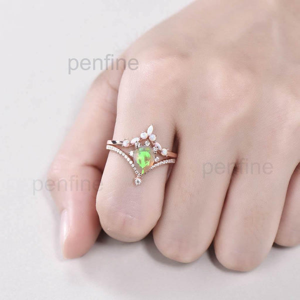 opal wedding set pear shaped hand