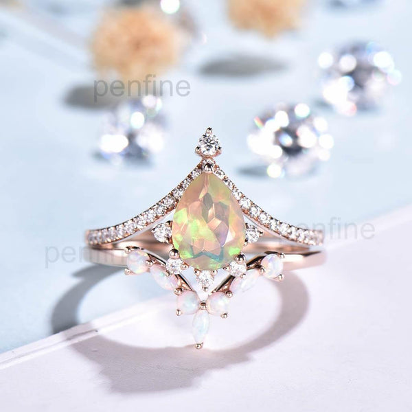 opal wedding set pear shaped