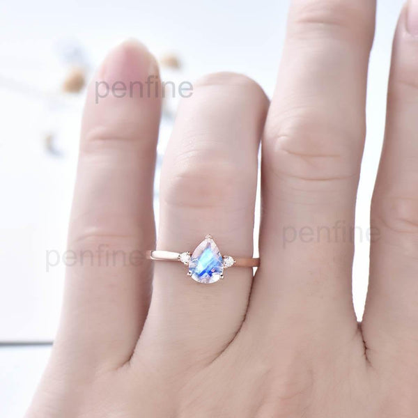 Three Stone Rainbow Pear Shaped Moonstone Engagement Ring Elle Rose Gold