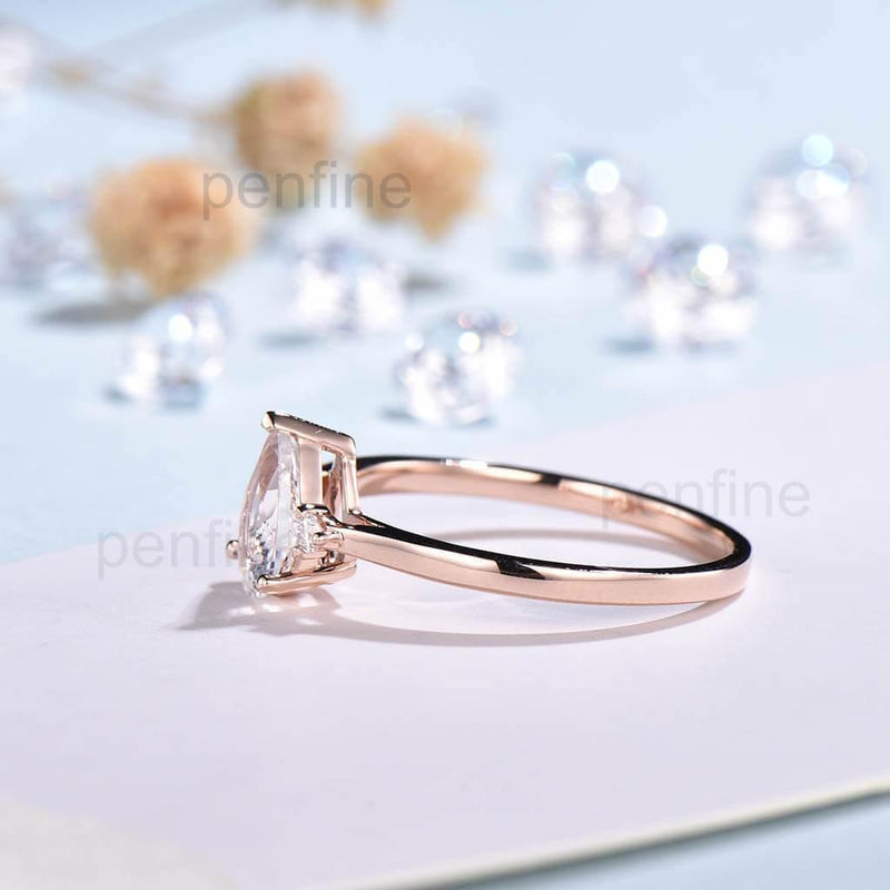 Three Stone Rainbow Pear Shaped Moonstone Engagement Ring Elle Rose Gold - PENFINE