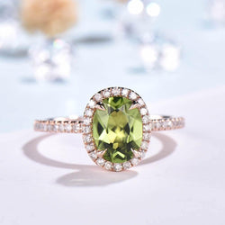 Peridot Engagement ring rose gold