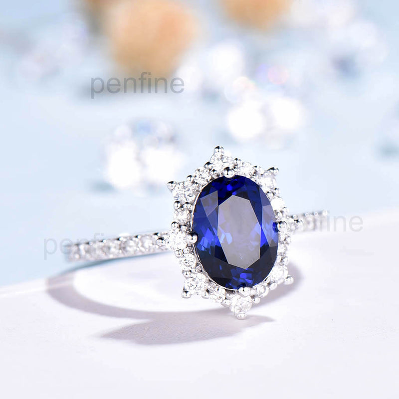 Vintage Fancy Sapphire Halo Moissanite Engagement Ring Rose Gold - PENFINE