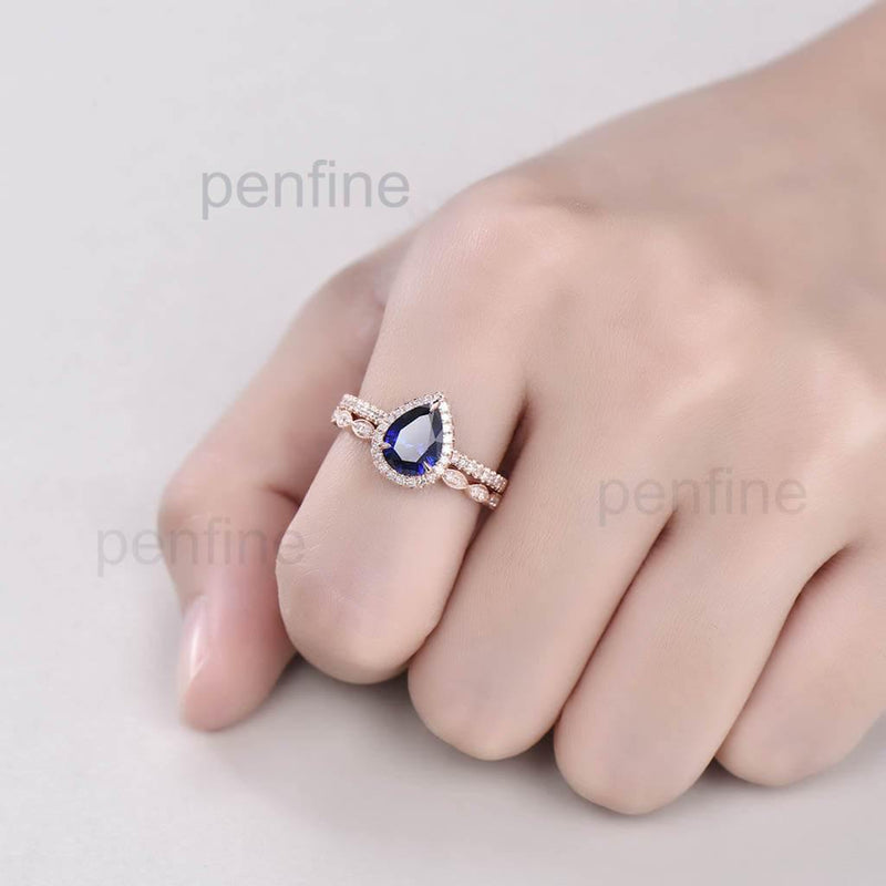 Pear Sapphire Wavely Diamond Engagement Ring Set Classic 2pcs - PENFINE