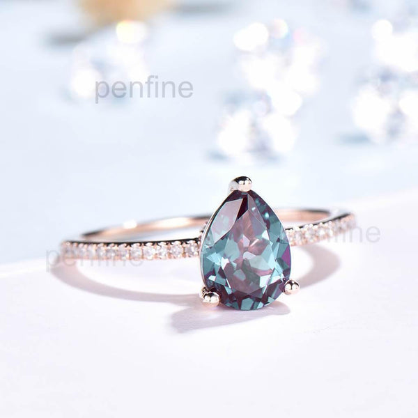 Pear Shaped Alexandrite/Emerald Diamond Engagement Ring Basket Prong - PENFINE