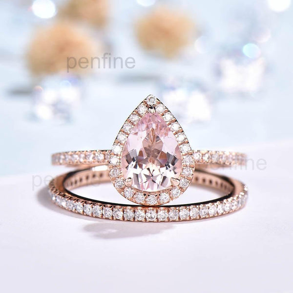 Pear Morganite Wavely Wedding Set Classic Full Eternity Diamond Band - PENFINE