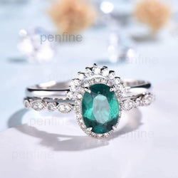 emerald wedding set white gold