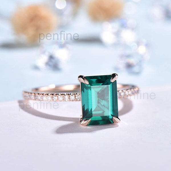 Emerald Cut Emerald Engagemnt Ring