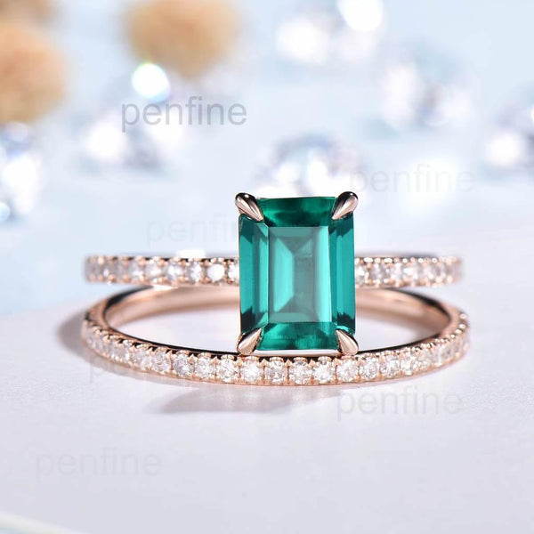Emerald Cut Emerald Engagemnt Ring Set