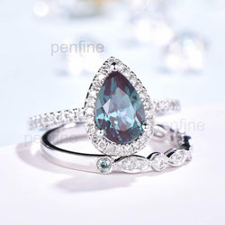 Pear Alexandrite Cambria Diamond Engagement Ring Set Classic 2pcs - PENFINE