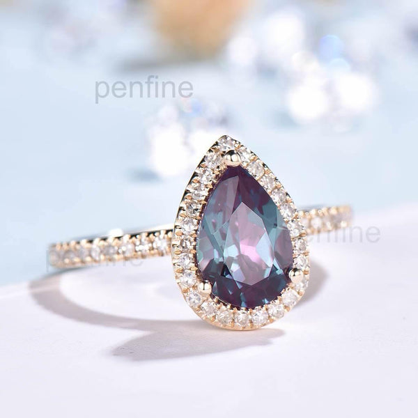 Pear Alexandrite Cambria Diamond Halo Engagement Ring Classic