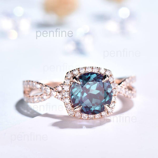 alexandrite diamond ring