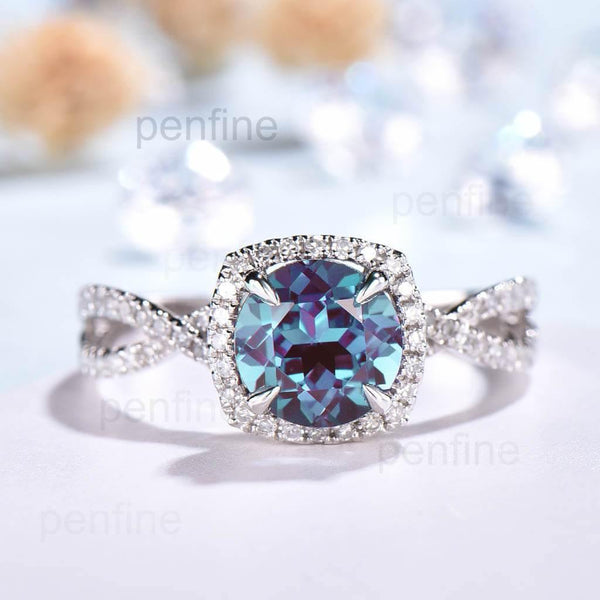 Twisted Alexandrite Halo Diamond Engagement Ring Round Cut - PENFINE