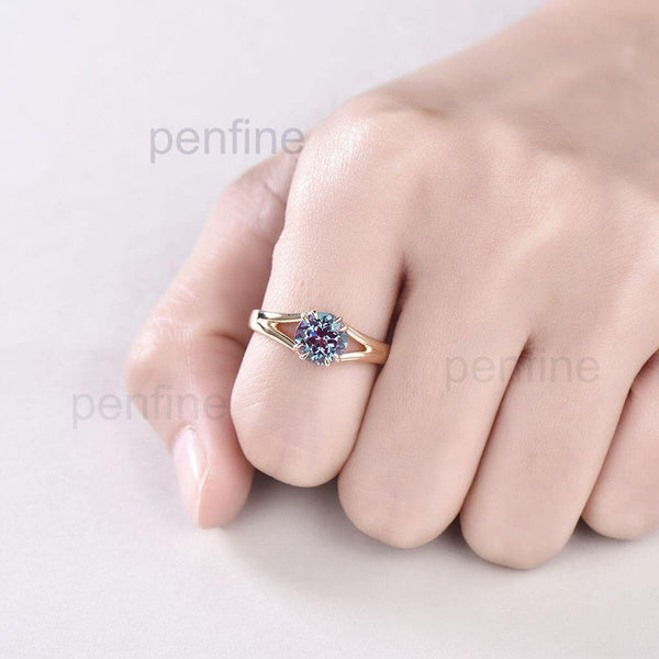 Split Shank Alexandrite Engagement Ring Solitaire 8 Prongs - PENFINE