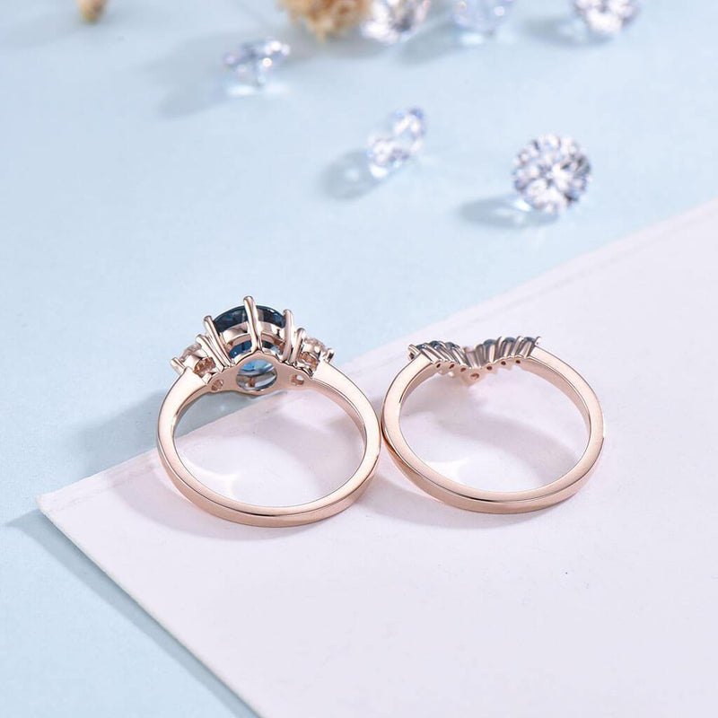 Vintage Three Stone London Blue Engagement Ring Set 2pcs - PENFINE