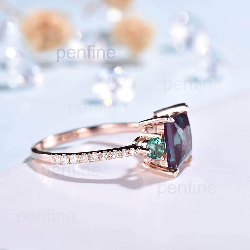 Three Stone Princess Cut Alexandrite And Emerald Engagement Ring - PENFINE