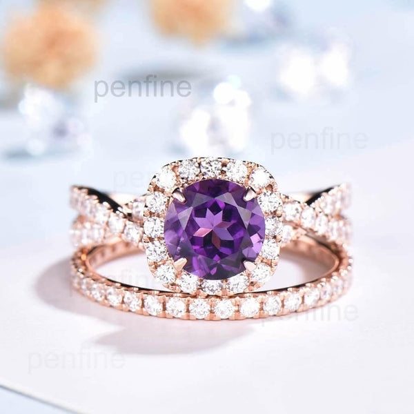 Twisted Amethyst Bridal Set Halo Diamond Engagement Ring - PENFINE