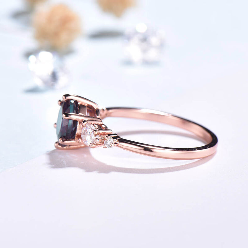 Unique Alexandrite Engagement Ring Pear Moissanite Ring Five Stone - PENFINE