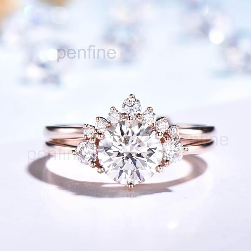 Vintage Three Stone Moissanite Engagement Ring Set Curved Wedding Band 2pcs - PENFINE