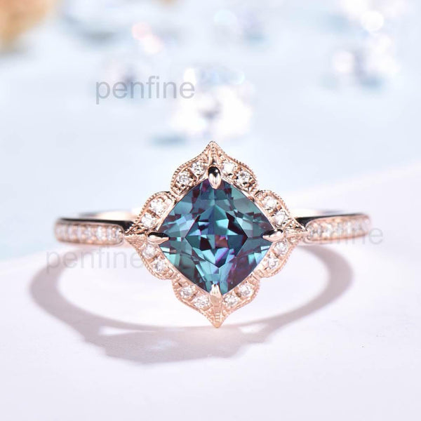 Flroal Alexnadrite Engagement ring