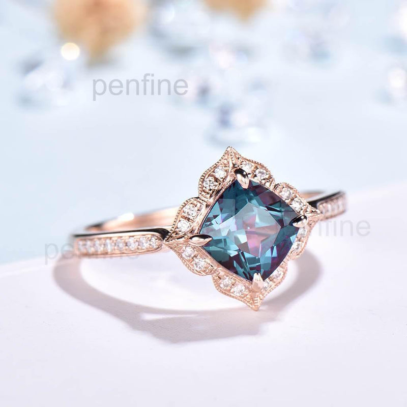 Vintage alexandrite engagement ring