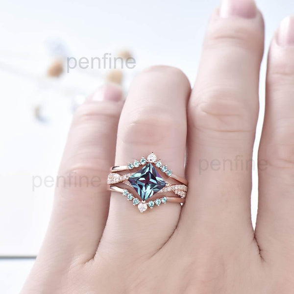 3pcs Infinity Princess Cut Alexandrite Engagement Ring Wedding Set - PENFINE