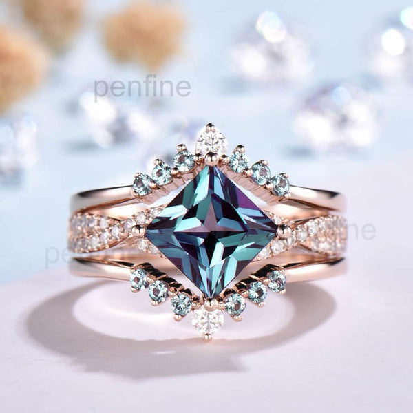 Princess Cut Alexandrite Wedding Set Rose Gold