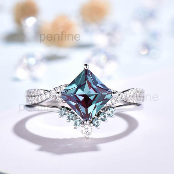 Infinity Princess Cut Alexandrite Engagement Ring Bridal Set 2pcs - PENFINE