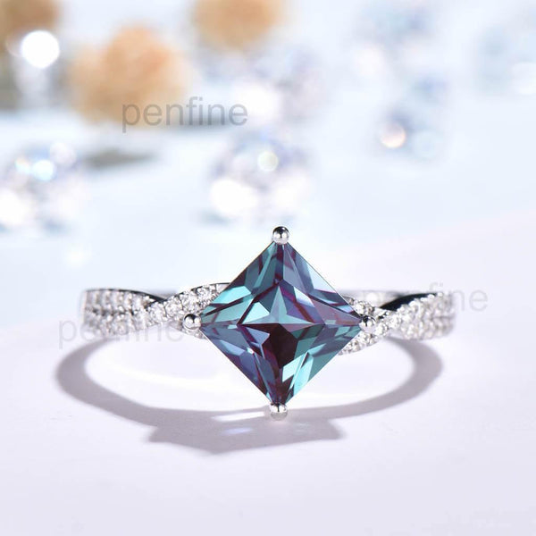Infinity Princess Cut Alexandrite Moissanite Engagement Ring Unique - PENFINE