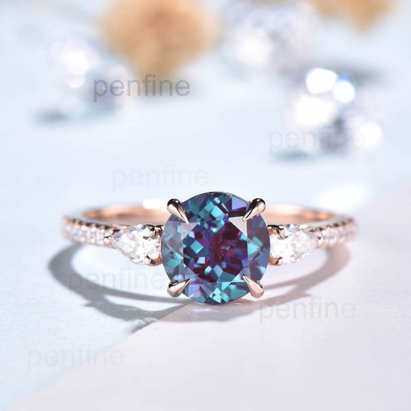 round cut alexandrite engagement ring rose gold