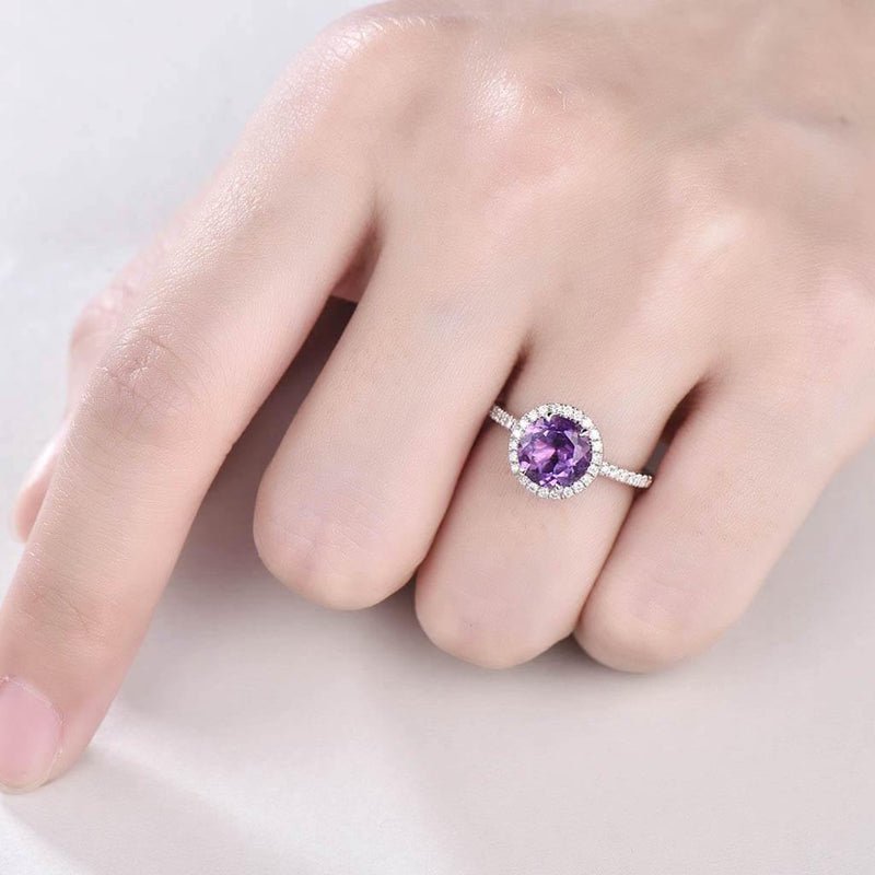 Round Cut Amethyst Engagement Ring