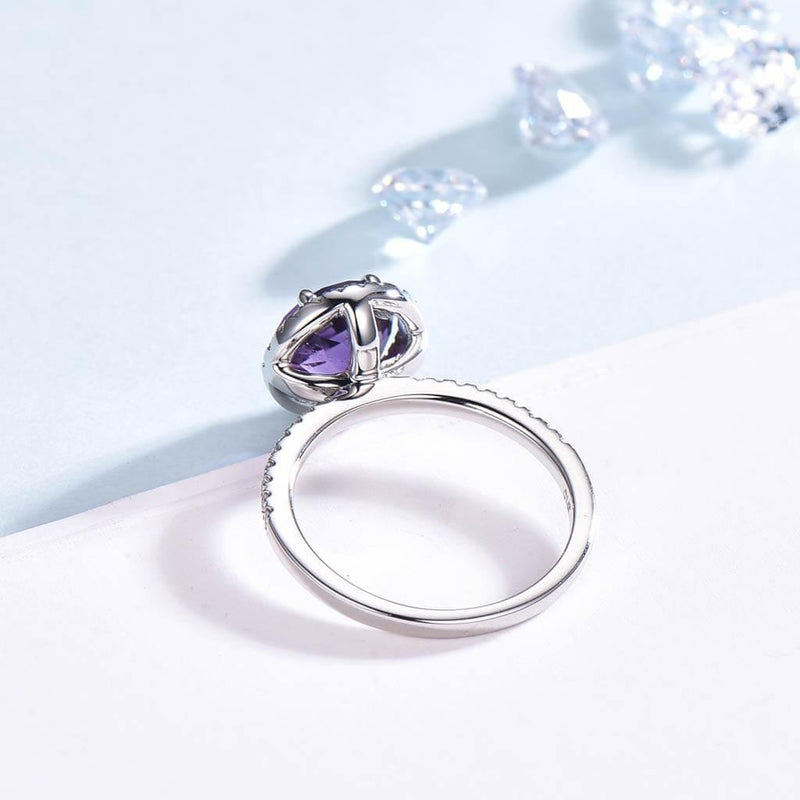 Round Cut Amethyst Engagement Ring side
