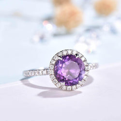 Diamond halo amethyst engagement ring