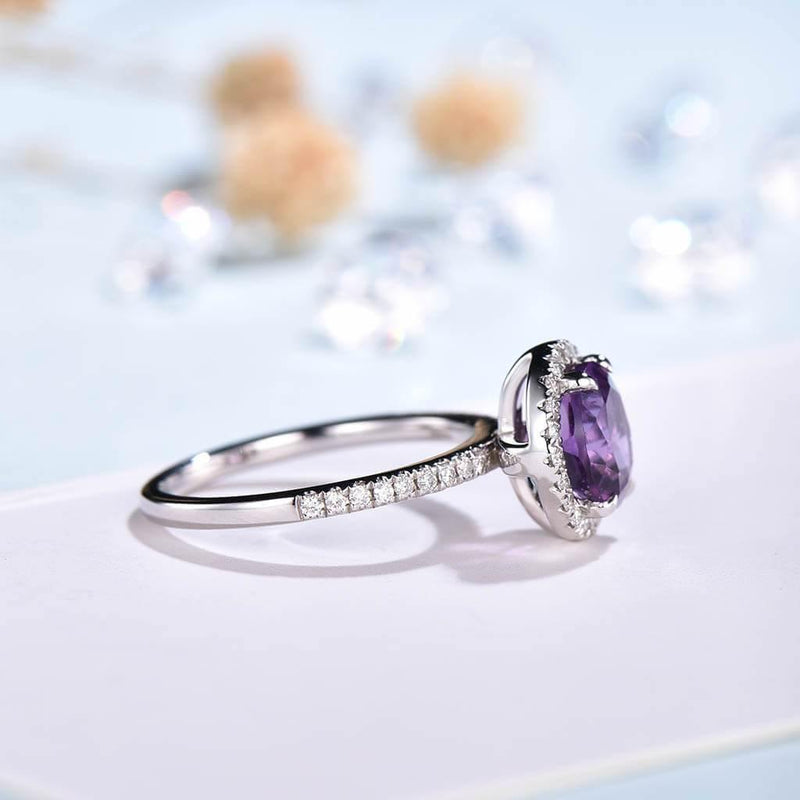 Round Cut Amethyst Engagement Ring side2
