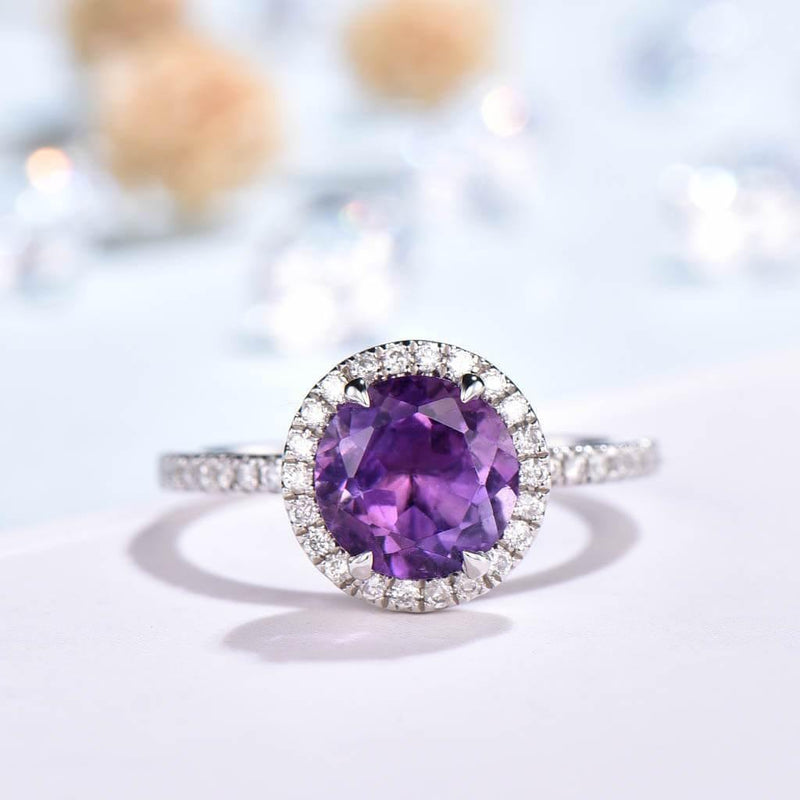 Round Cut Amethyst Engagement Ring White Gold