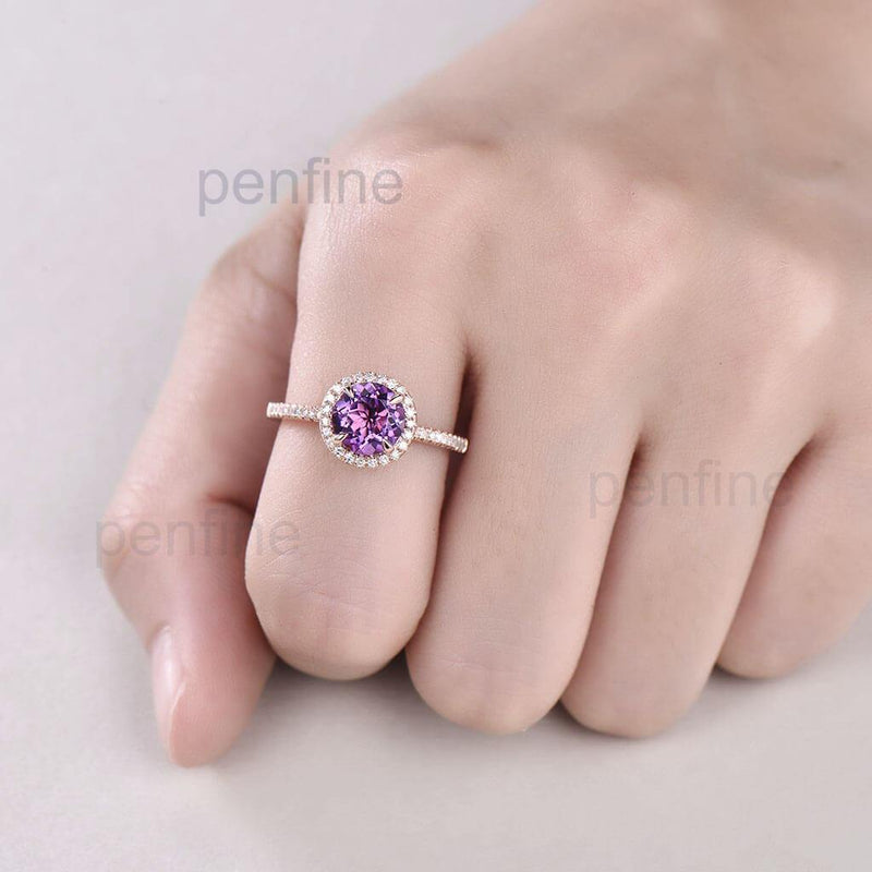 Classic Round Amethyst Halo Diamond Engagement Ring - PENFINE