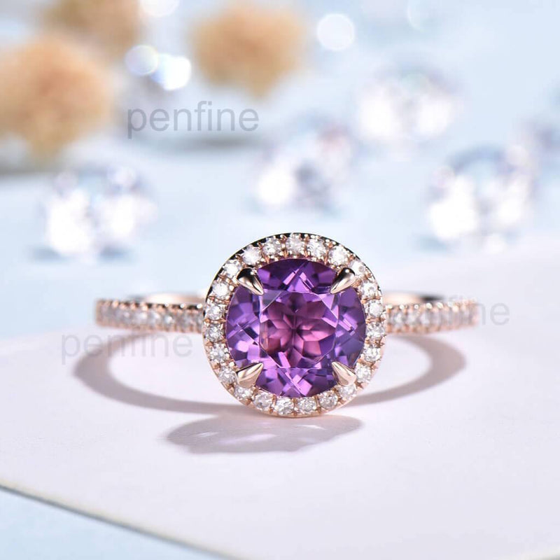 Round Cut Amethyst Engagement Ring Rose Gold