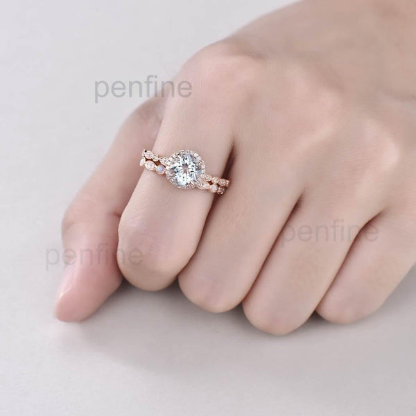 Aquamarine Waverly Diamond Halo Engagement Ring Bridal Set 2pcs - PENFINE