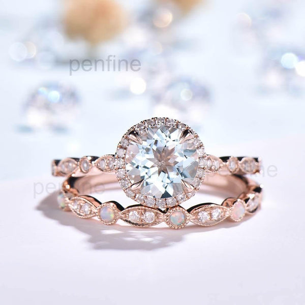 Round Cut Aquamaring Wedding Set