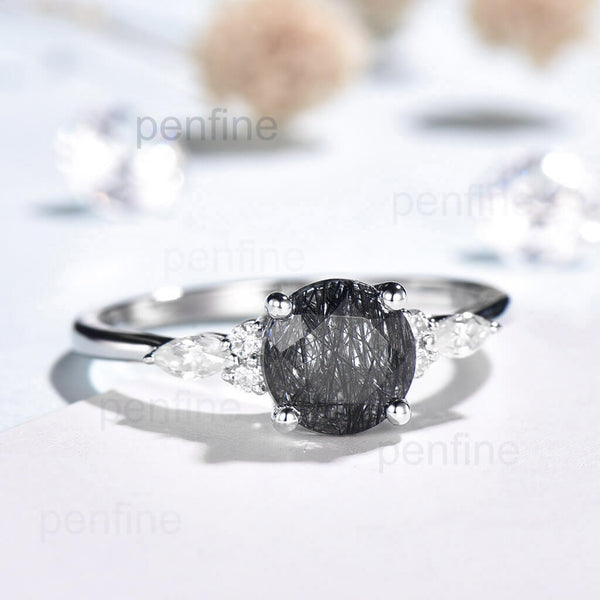 Black Rutilated Quartz engagement ring round cut