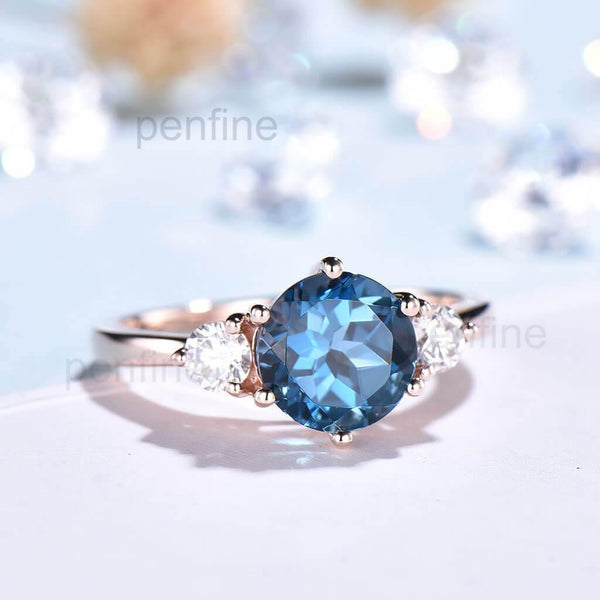 Three stone London Blue Topaz  Engagement Ring