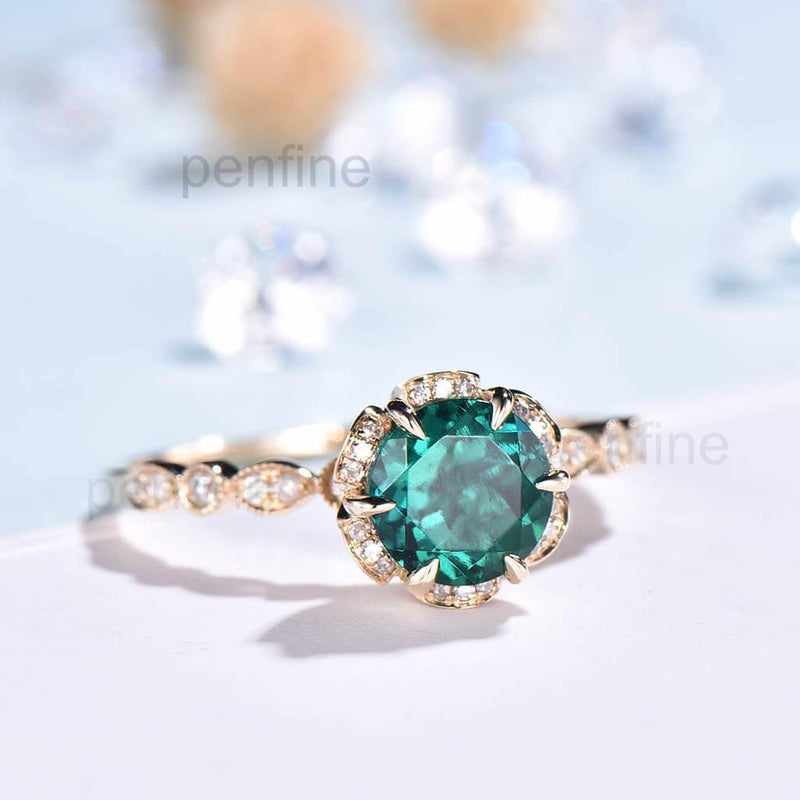 Sunflower Emerald Diamond Halo Engagement Ring Vintage - PENFINE
