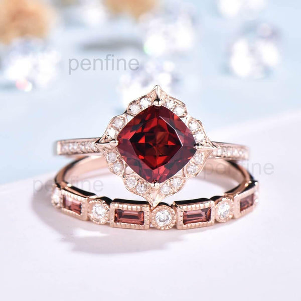 Floral Garnet And Diamond Rings Wedding Set January birthstone - PENFINE