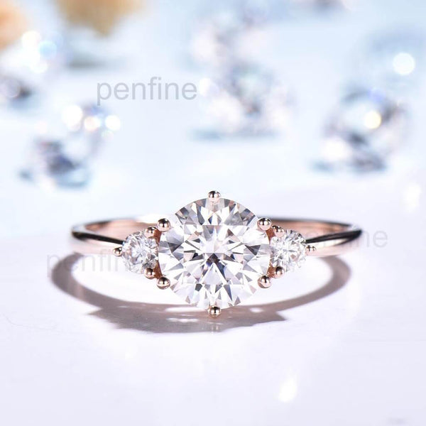 Vintage Three Stone Moissanite Engagement Ring Single - PENFINE