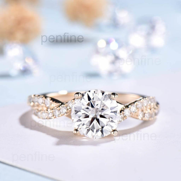 Moissanite Petite Luxe Twisted Vine Engagement Ring - PENFINE